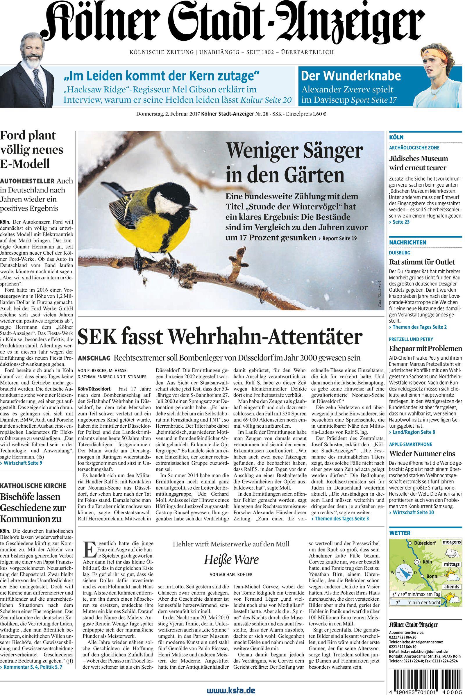 NUR ALS ZITAT Titelseite Kölner Stadt-Anzeiger 02.02.17