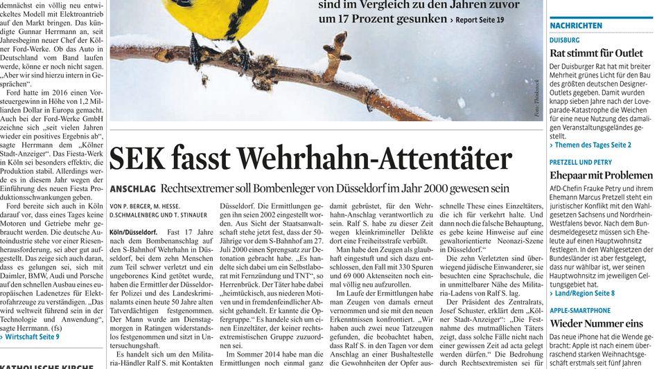 Titelseite Kölner Stadt-Anzeiger 02.02.17