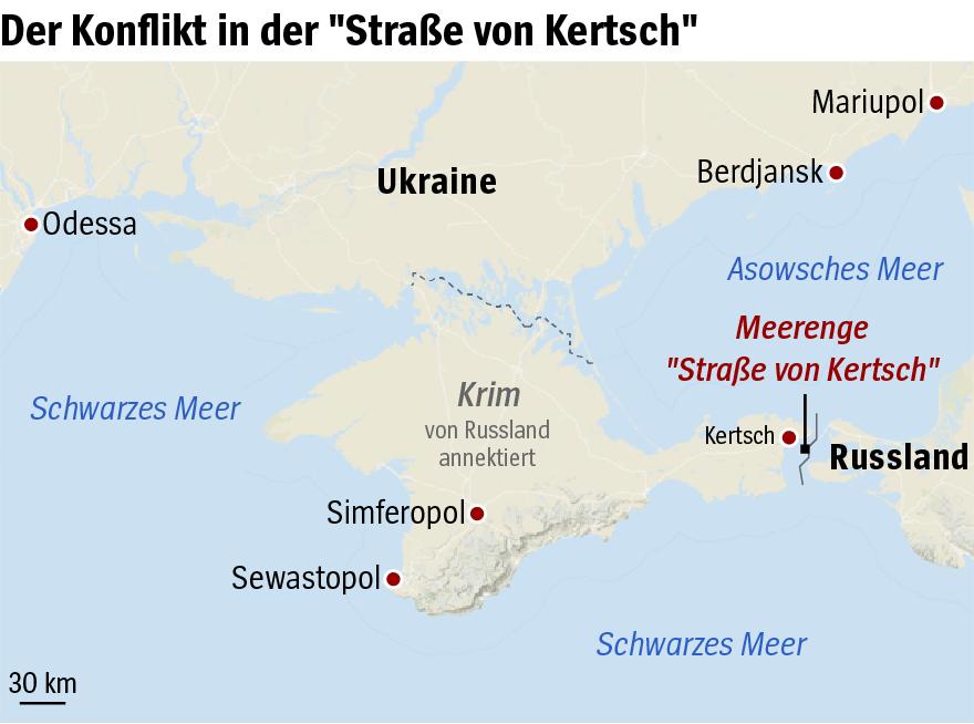 Karte - Ukraine Russland - Straße von Kertsch