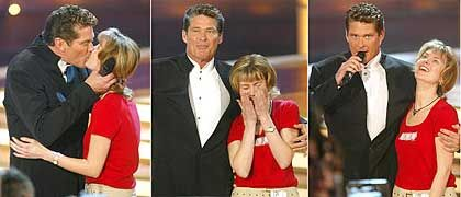 David Hasselhoff kissing a young woman from Leipzig in 2004. Her grandchildren, you can be sure, will never hear about it.