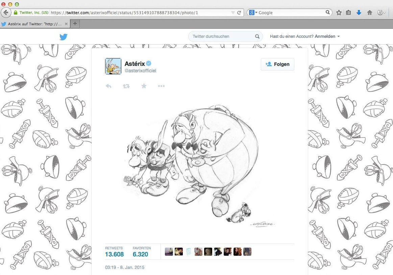 EINMALIGE VERWENDUNG Asterix & Obelix/ Twitter/ Anschlag Charlie Hebdo SCREENSHOT