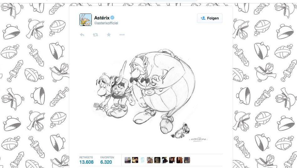 Screenshot von Twitter: Asterix und Obelix verbeugen sich