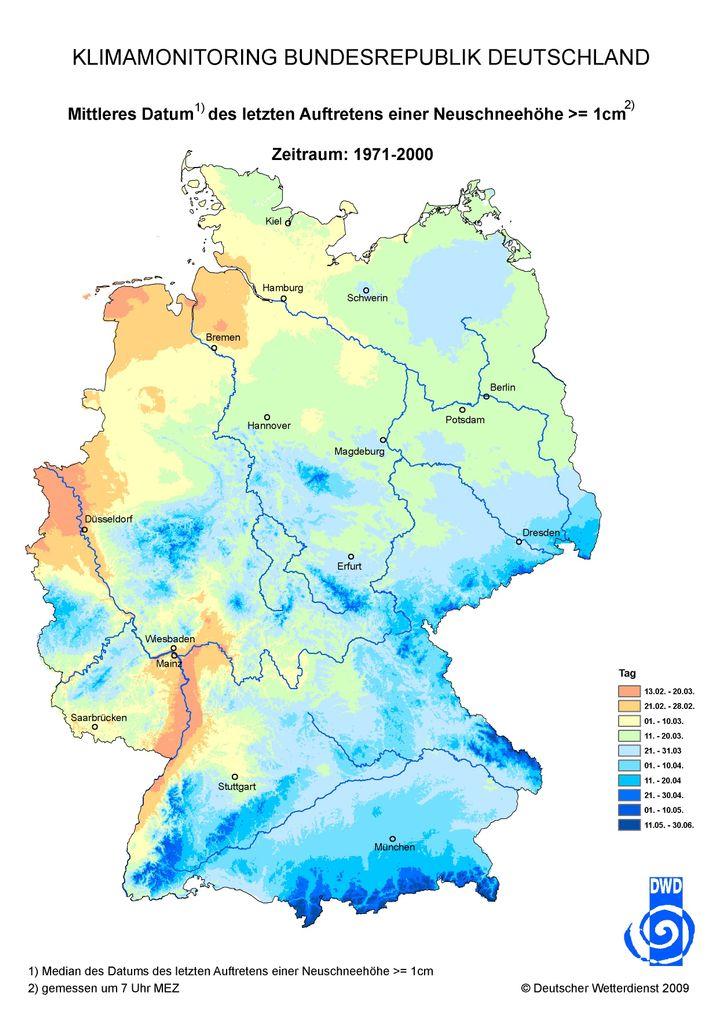 Deutschlandkarte: Letzte Neuschneedecke im Durchschnitt der Jahre 1971 bis 2000.