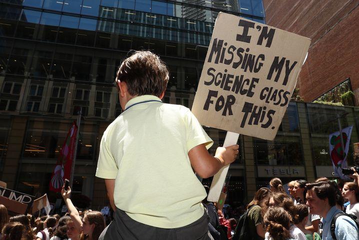 Junger Demonstrant in Sydney