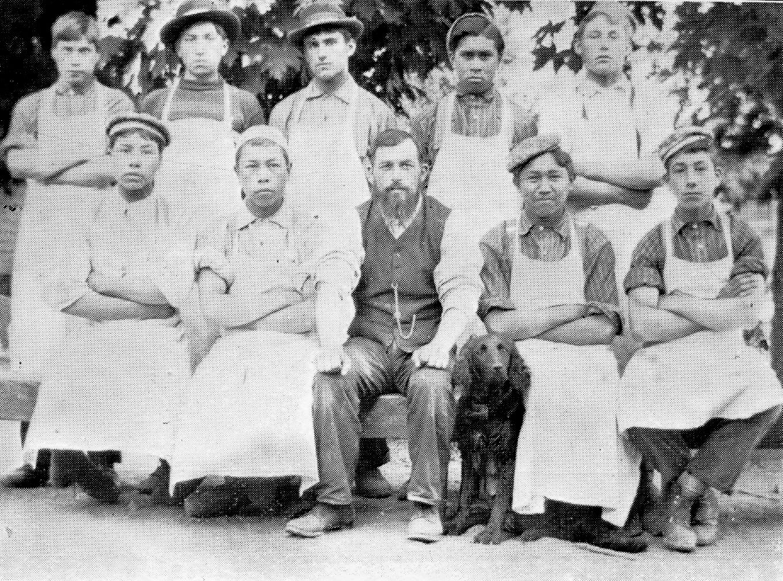 Indian Boys employed in the bakery, Kuper Island Industrial School