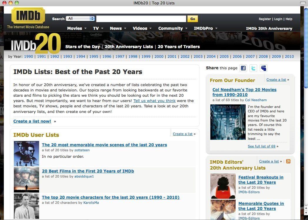 SCREENSHOT IMDB / 20 Jahre