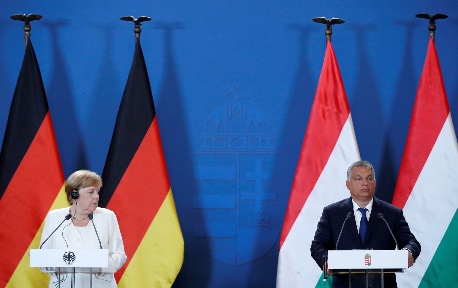 German Chancellor Merkel and Hungarian PM Orban hold a news conference in Sopron