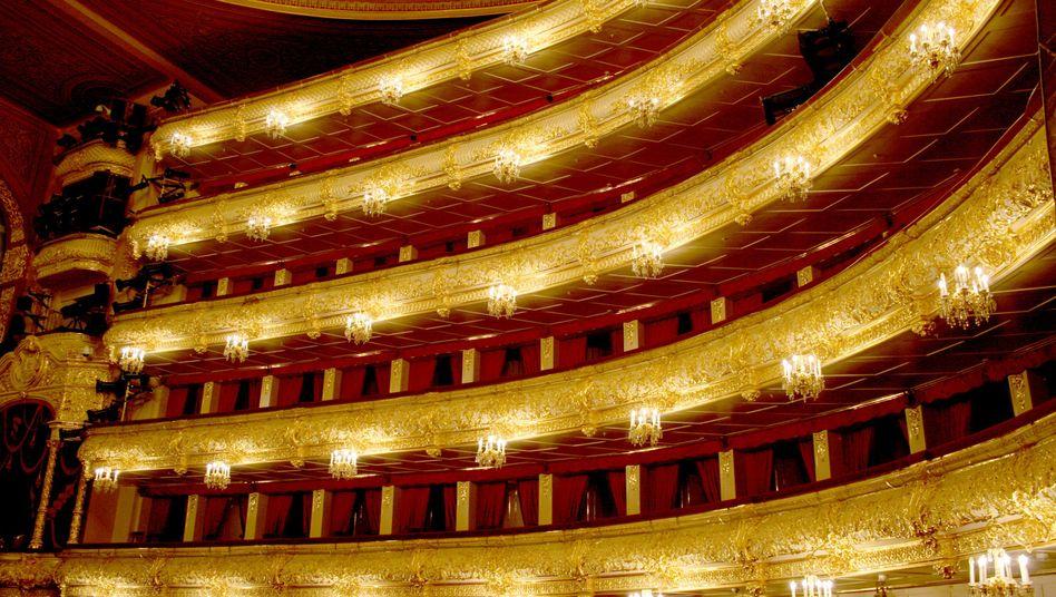 Der Zuschauersaal des Moskauer Bolschoi-Theaters