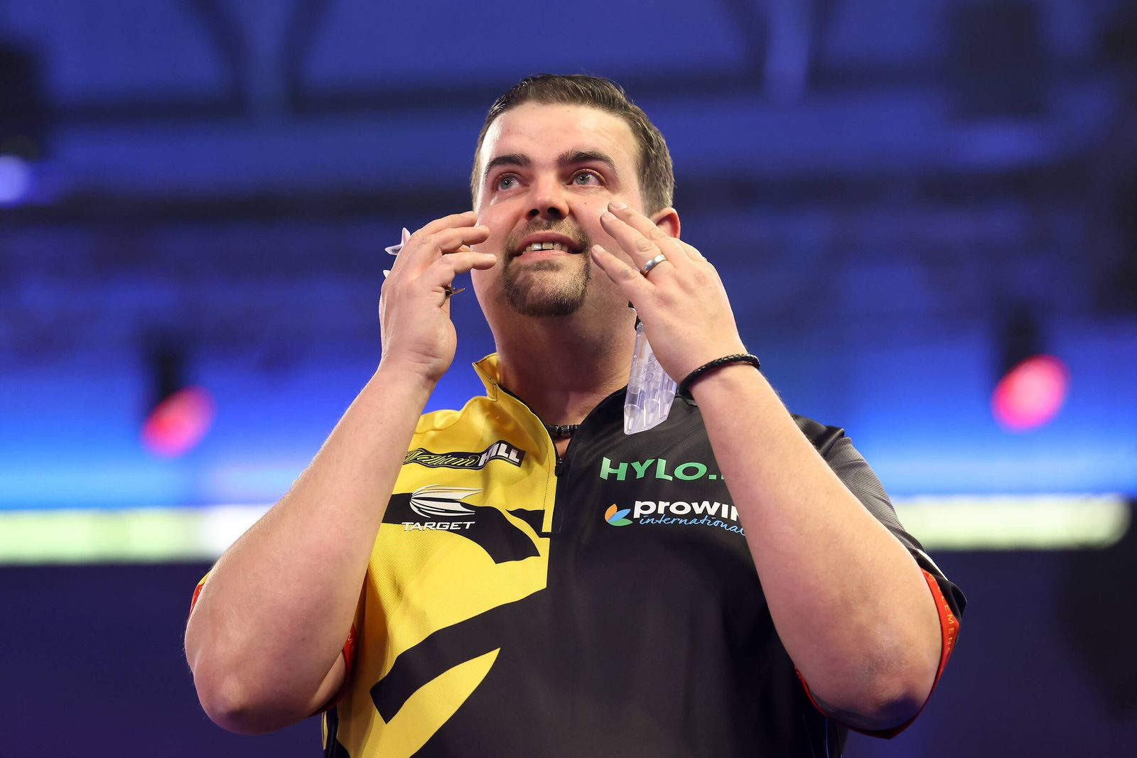 William Hill World Darts Championship 27/12/2020. Gabriel Clemens wins the match and celebrates during the third round