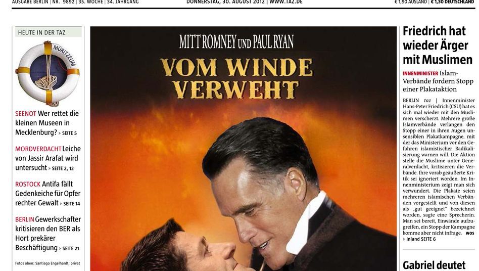 The front page of the left leaning Die Tageszeitung took aim at the Romney/Ryan Republican ticket on Thursday.
