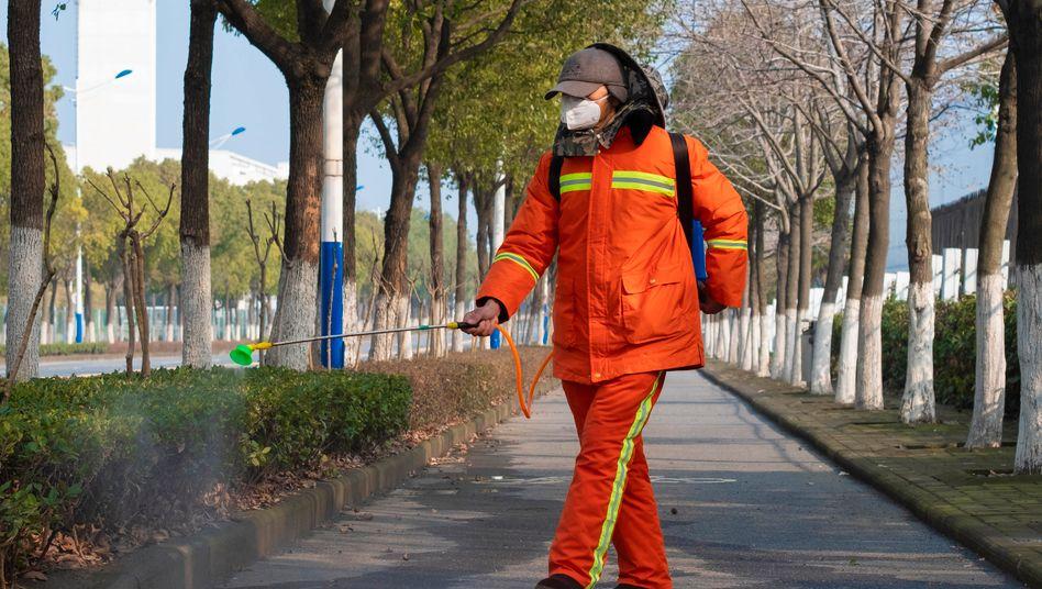 Ein Arbeiter mit Desinfektionsmittel in Wuhan: Von Reisen in die Volksrepublik wird abgeraten