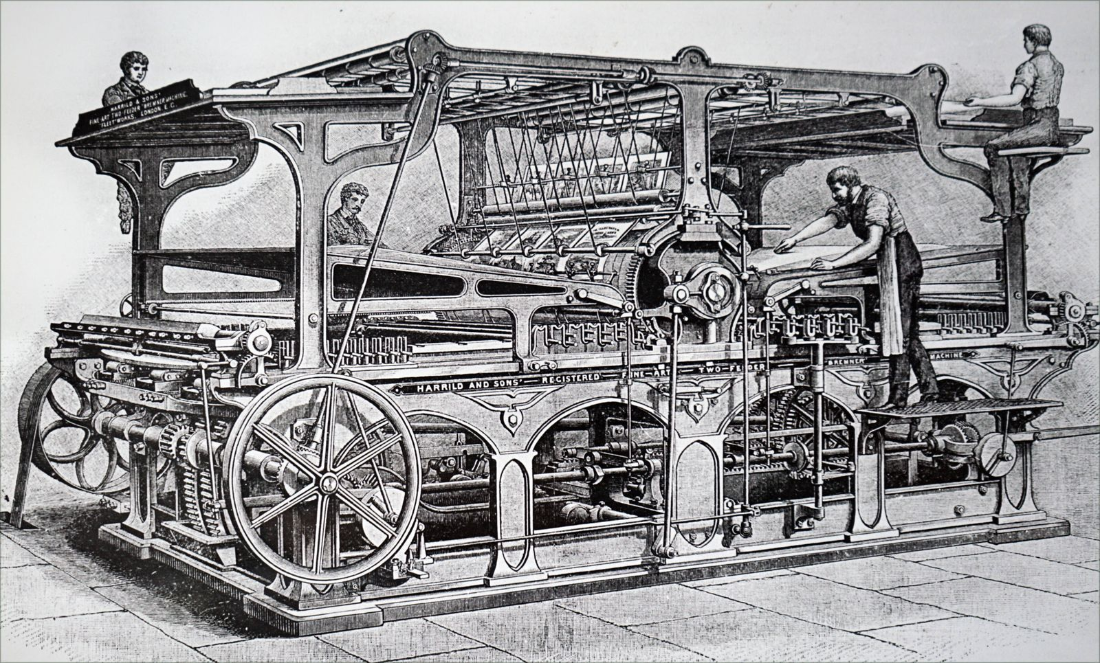 Engraving depicting Richard March Hoe s rotary printing press Richard March Hoe 1812 1886 an Amer