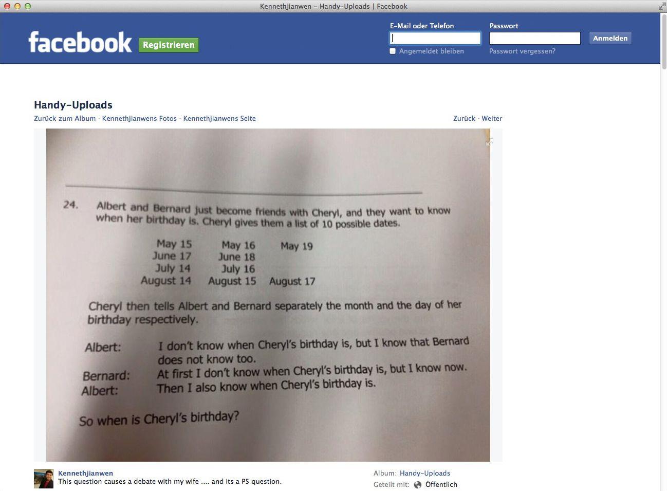 EINMALIGE VERWENDUNG Screenshot/ NUR ALS ZITAT/ Facebook/ Kennethjianwen
