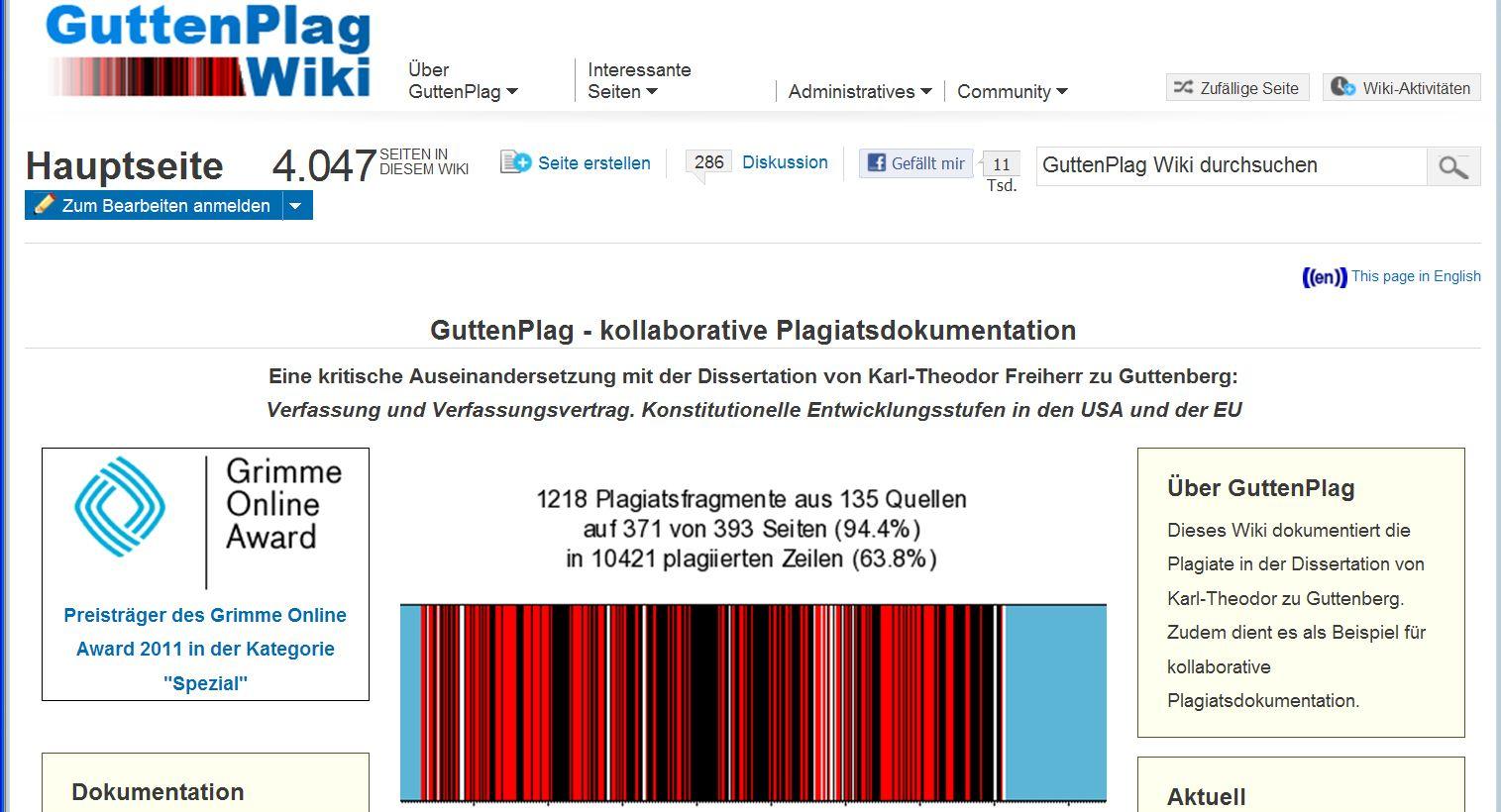 NICHT VERWENDEN Grimme Online Award 2011 / GutenPlagWiki