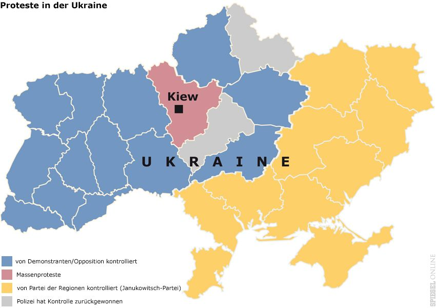 Karte - Proteste in der Ukraine