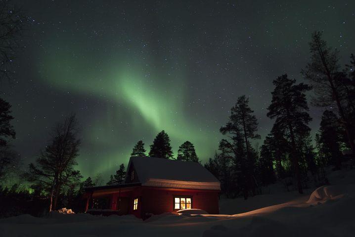 Pasviktal mit Nordlicht