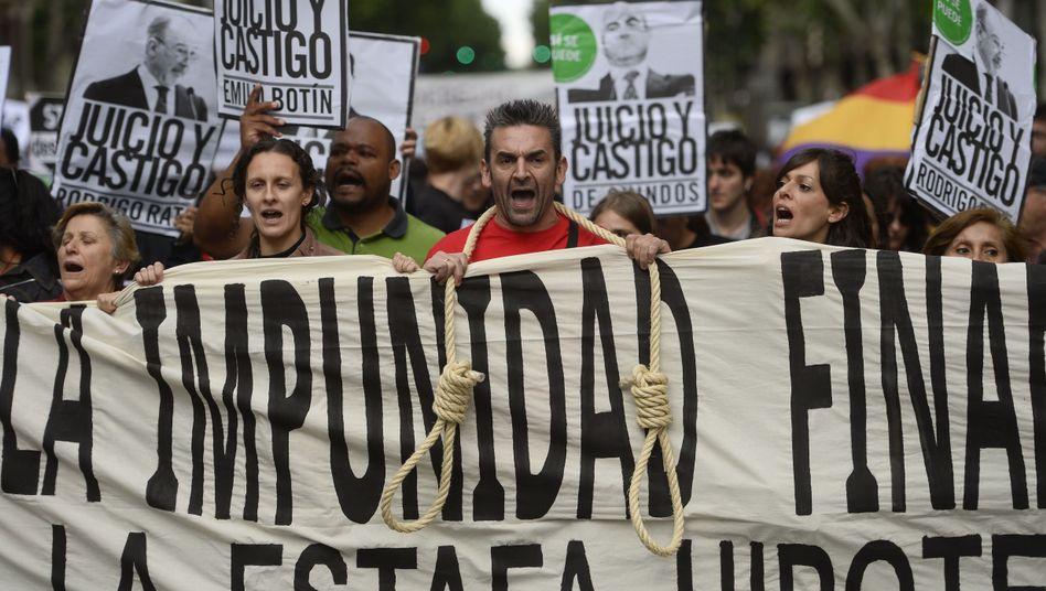Demonstration in Madrid: Opfer der spanischen Kreditkrise