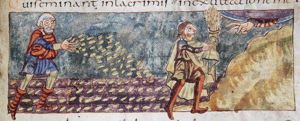 Säender Bauer und Ährenopfer Aus dem »Stuttgarter Psalter«, um 827