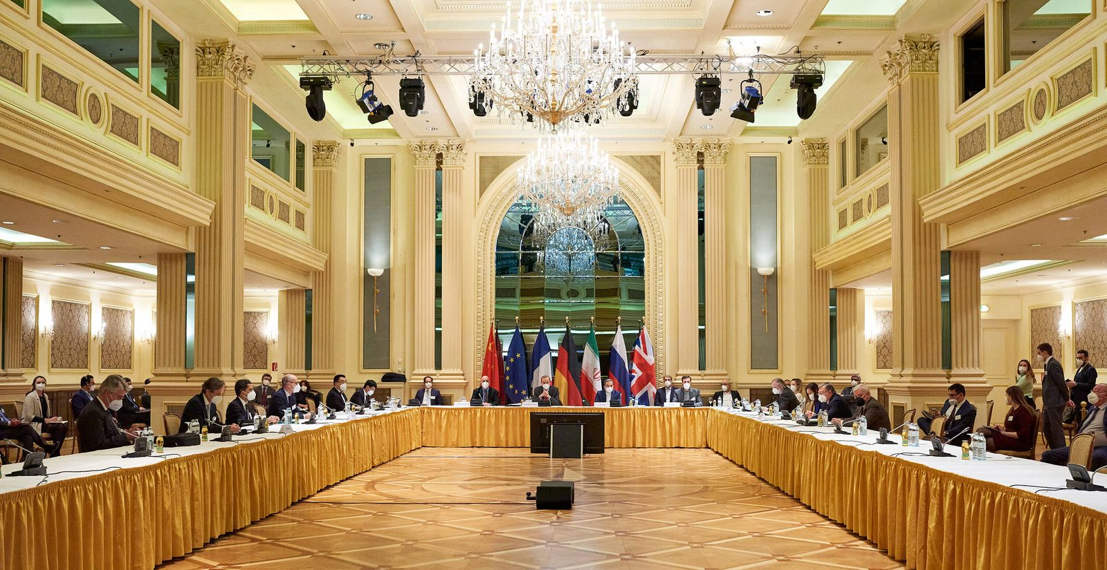 (210407) -- VIENNA, April 7, 2021 -- Photo taken on April 6, 2021 shows a meeting of the Joint Commission of the Joint