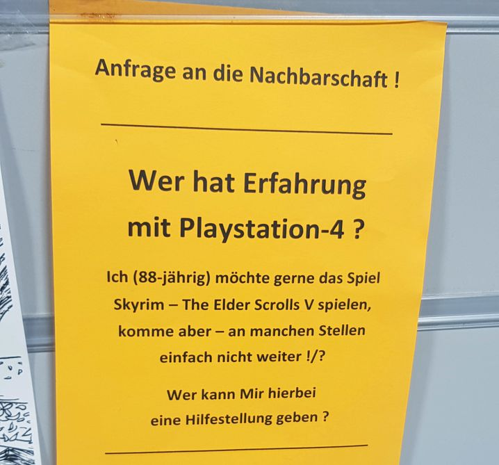 »Wer hat Erfahrung mit Playstation-4?«: So sah der Aushang von Klaus-Jürgen Langner aus