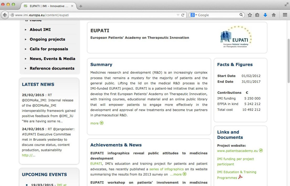 NUR ALS ZITAT Screenshot IMI Projekt/ EFPIA