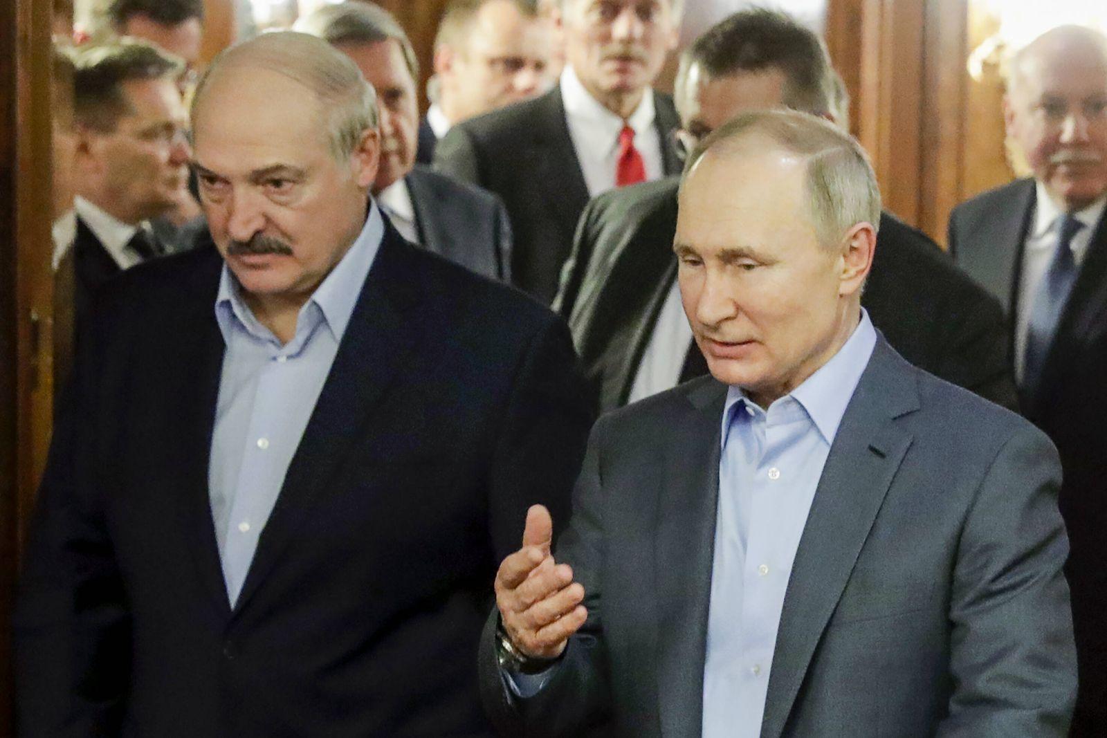 SOCHI, RUSSIA - FEBRUARY 7, 2020: Belarus President Alexander Lukashenko and Russia s President Vladimir Putin (L-R fron