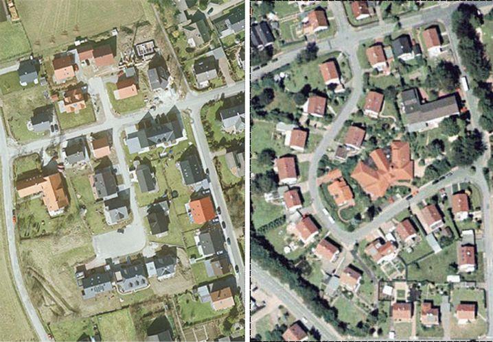 Vergleich: Im Altbaugebiet (r.) ist die Infrastruktur bereits vorhanden, im Neubaugebiet (l.) müssen Straßen, Gärten und Kanäle erst errichtet werden