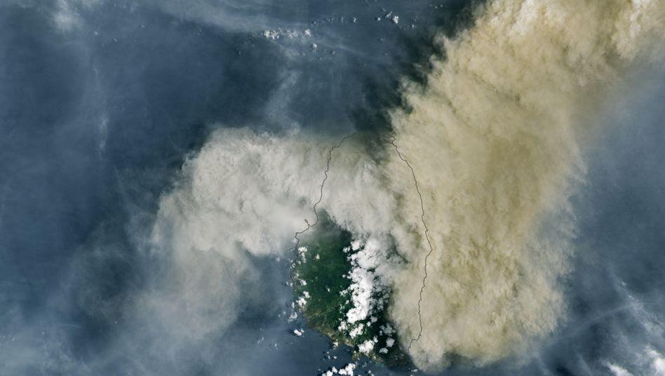 La Soufrière am 9. April 2021 nach dem ersten Ausbruch