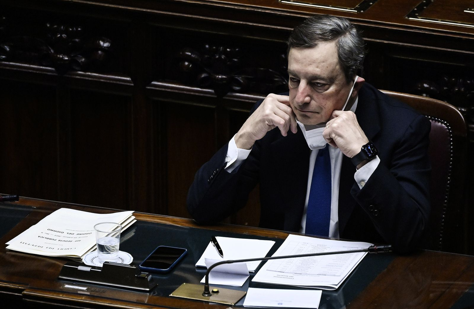 Confidence vote at the Chamber on PM Draghi's government, Rome, Italy - 18 Feb 2021
