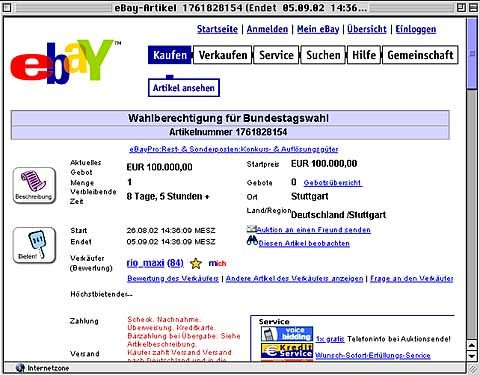 eBay: Wahlberechtigung für 100.000 Euro