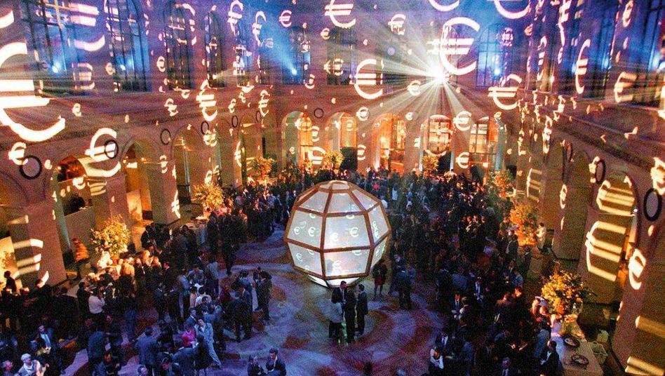 Feier zur Einführung des Euro als Buchgeld in der Pariser Börse 1999