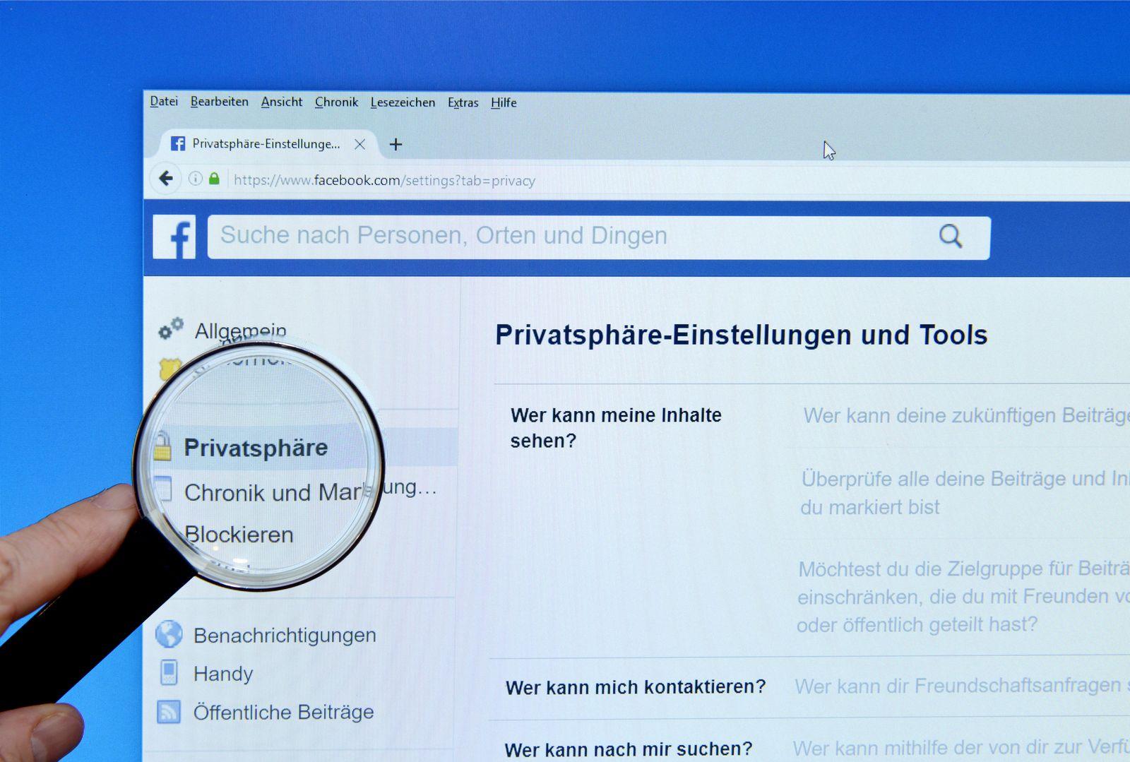 EINMALIGE VERWENDUNG FACEBOOK/ PRIVATSPHÄRE