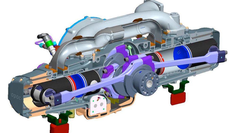 Opoc-Motor: Kolben gegen Kolben