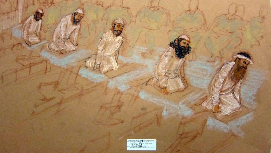 Gerichtszeichnung der fünf Guantanamo-Angeklagten: Prozess vertagt
