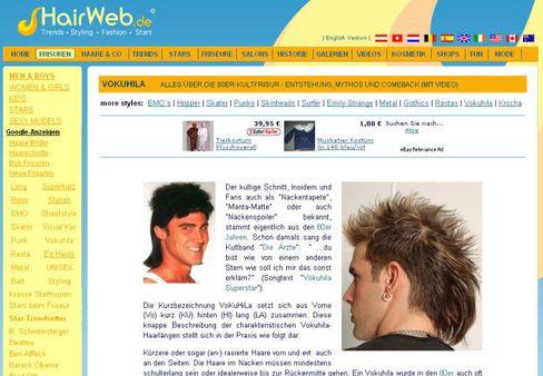 Was man in den Achtzigern so Haartracht nannte: Das Hairweb dokumentiert auf einer eigenen Sonderseite den Sündenfall des Vokuhila