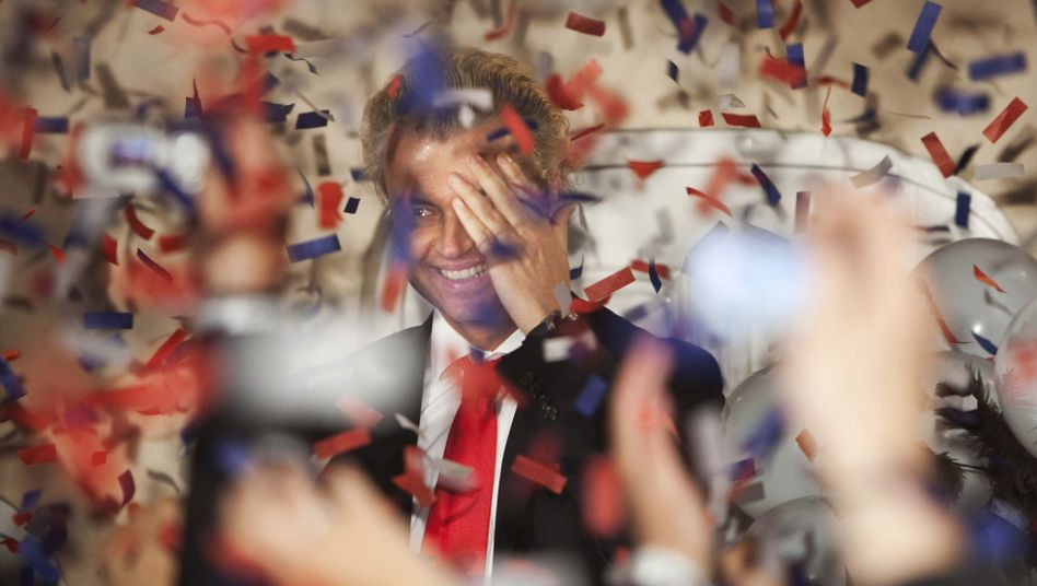 Geert Wilders celebrates the PVV result in Wednesday's Dutch elections.