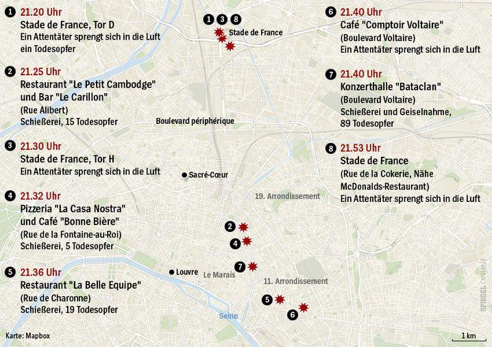 Tatorte in Paris: Wann und wo die Attentäter zuschlugen
