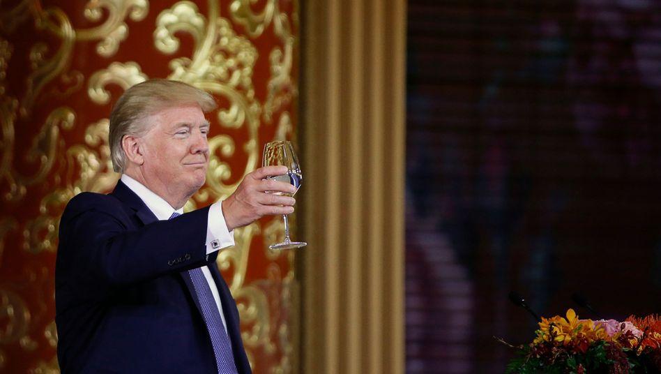 Donald Trump beim Staatsbankett in Peking