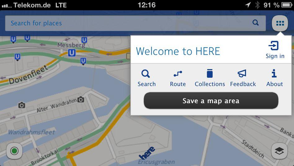 Screenshot der Nokia Here iOS-App: Interesse an digitalen Kartendiensten ist groß