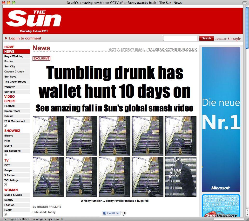 NUR ALS ZITAT! Screenshot/ Sun/ Überwachungskamera/ Betrunkener