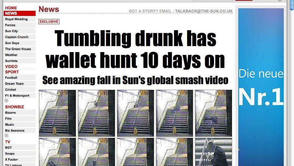 """Screenshot der """"Sun""""-Website: """"Unglaublich, dass er sich nicht ernsthaft verletzt hat"""""""