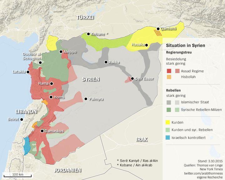 Machtverhältnisse in Syrien (Stand: 4. Oktober 2015)