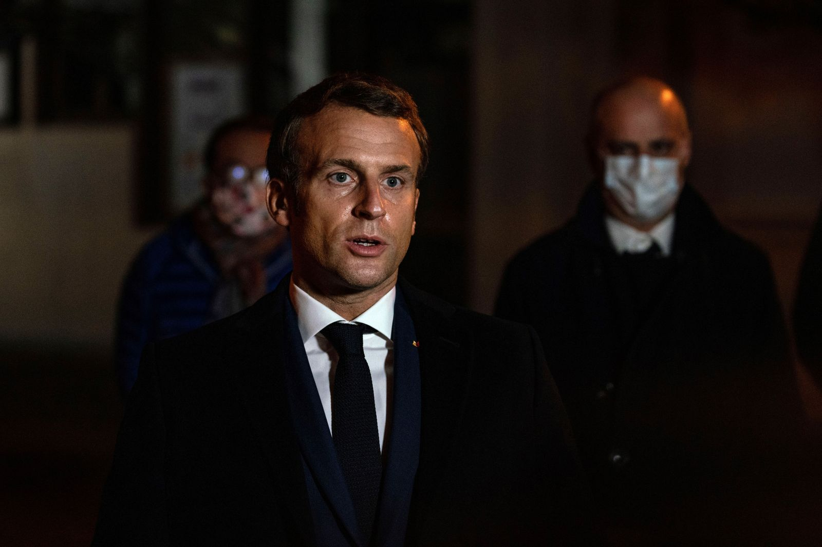French President Emmanuel Macron visit following attack in which teacher was decapitated, Eragny, France - 16 Oct 2020