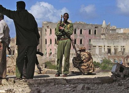 Government soldiers, like the ones shown here in this May 2007 file photo, have been battling insurgents in the Somalia capital Mogadishu.
