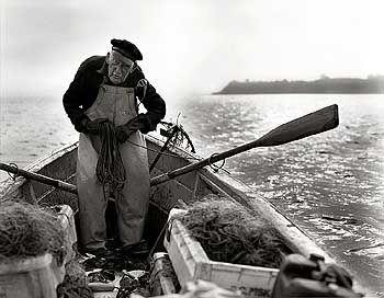 Tagwerk eines Fischers: Sechsmal 120 Meter Netzt setzt Lietzow jeden Abend aus. Am Morgen holt er sie wieder ein