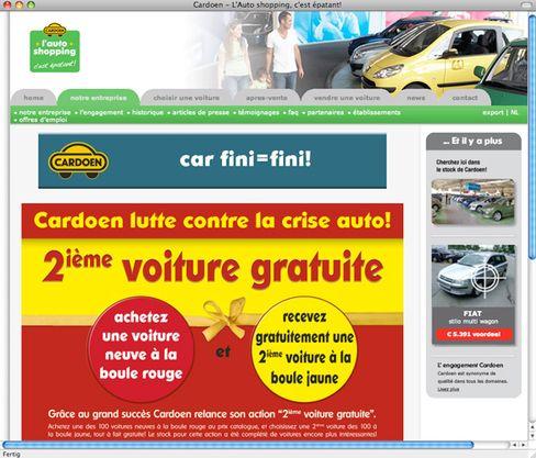 Website von Cardoen: Ramschladen-Marketing für Autos