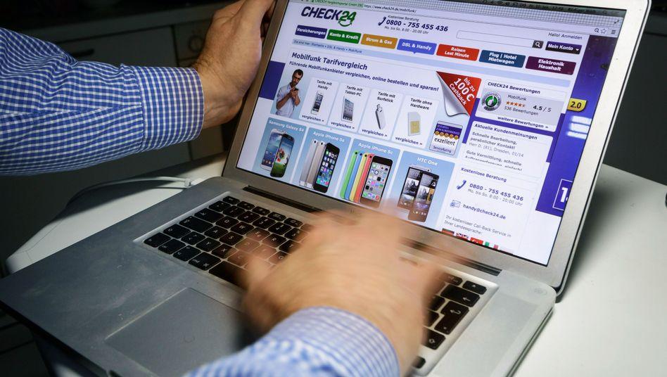 Online-Vergleichsportal Check24 auf dem Computerbildschirm