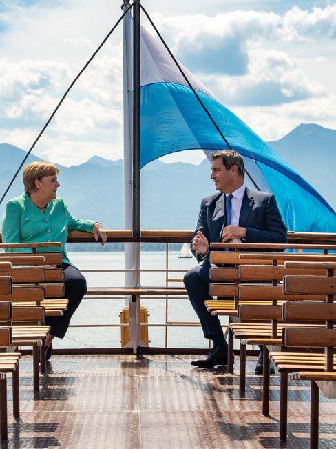 Söder und Merkel Herrenchiemsee