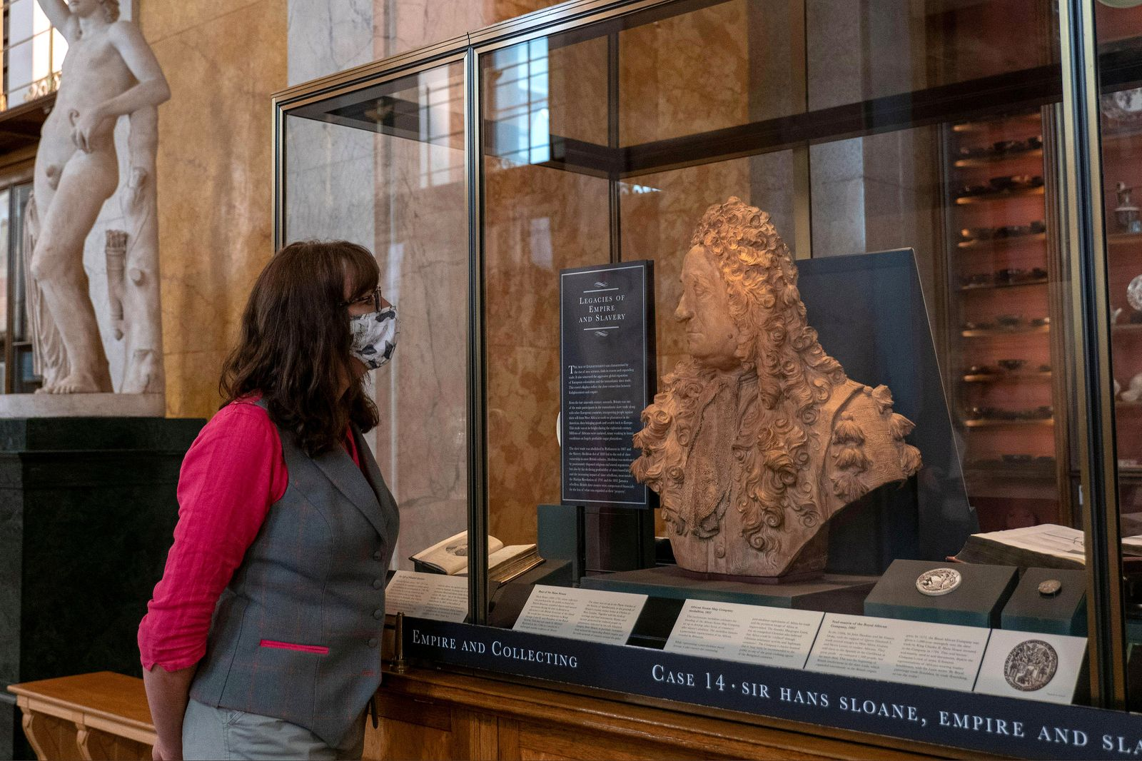 London, England. 25th August 2020. The Bust of Sir Hans Sloane, founding father of the British Museum, has been removed from it's pedestal and is now labelled a slave owner. The British Museum will reopen it's doors to the public in line with government