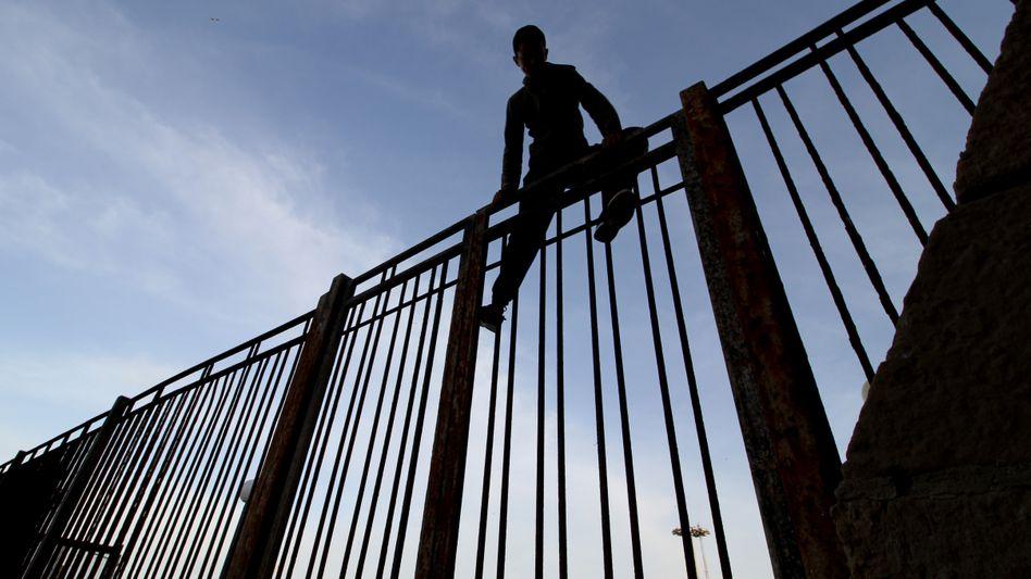 Hinter dem Zaun liegt Europa: Migrant auf der Grenzanlage in Melilla